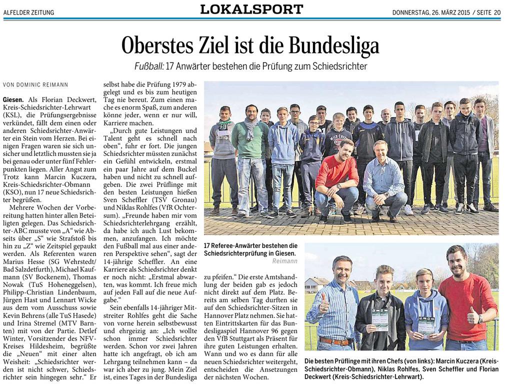 Alfelder Zeitung - Anwärterlehrgang 2015