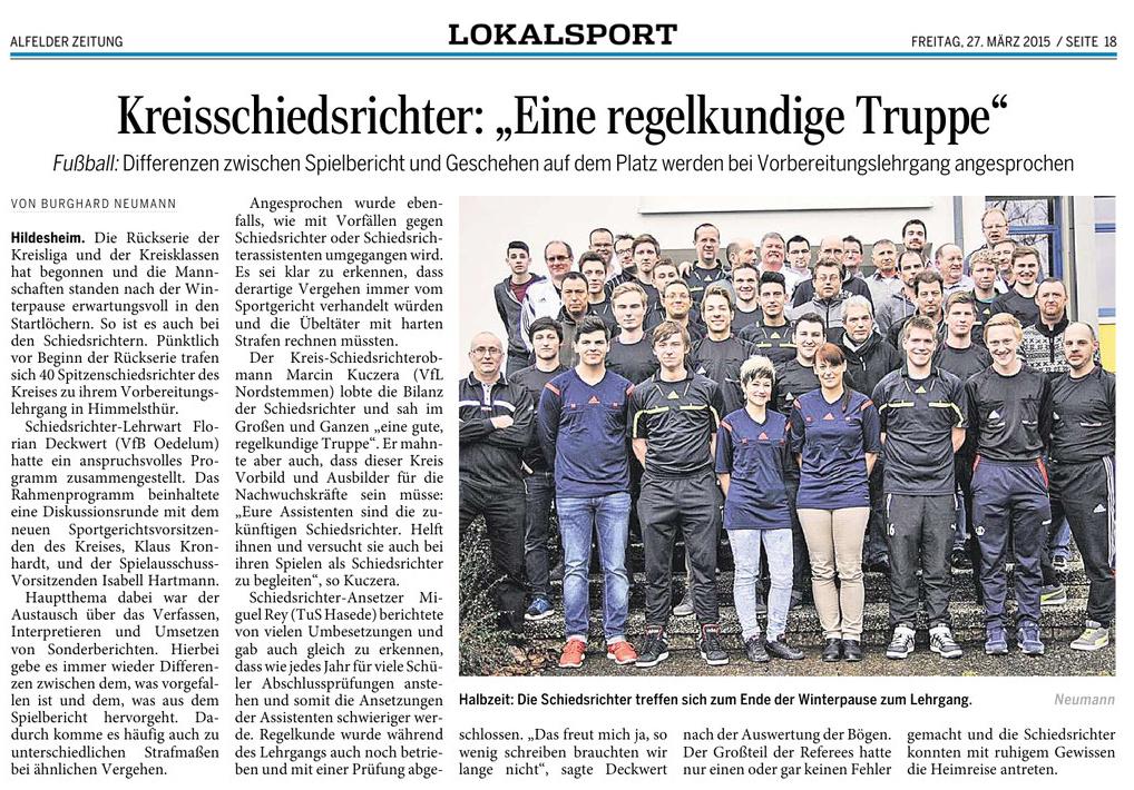 Alfelder Zeitung - Kreisligalehrgang